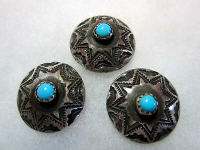 Wonderful Set 3 Small 1940's Vintage Navajo Silver Buttons/ Turquoise Center