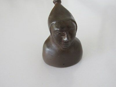 Vintage Solid Metal/ Bronze Figural Hooded Friar MONK Candle Snuffer Nice Face