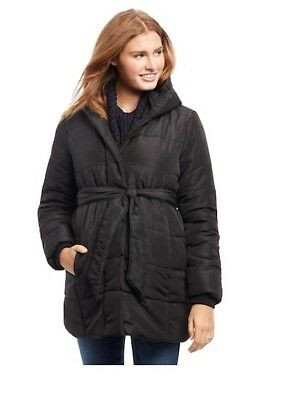 NEW $160 Oh Baby by Motherhood MATERNITY Puffer Coat with tie - Small S