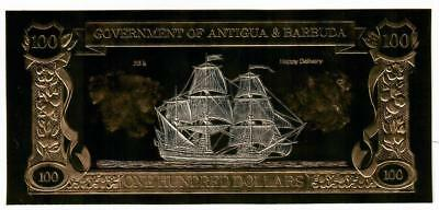 Antigua & Barbuda 23Kt Gold & Silver $100 Note George Lowther & Happy Delivery