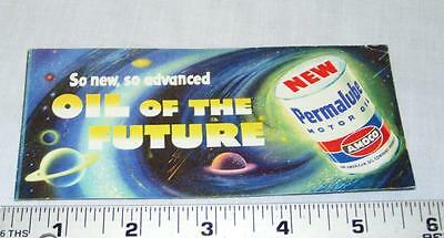 Vintage Advertising Amoco Permalube Ink Blotter Gas & Oil Space Theme L@@K!