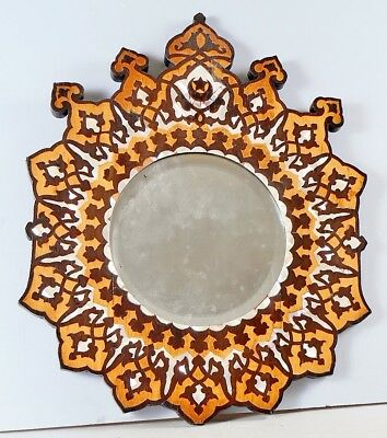 Antique Marquetry Inlaid Wood And Mother Of Pearl Round Beveled Mirror