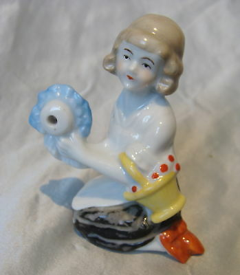 ANTIQUE PORCELAIN GERMAN FIGURAL*LADY*EGG TIMER*GERMANY*HALF DOLL RE~Sweet~