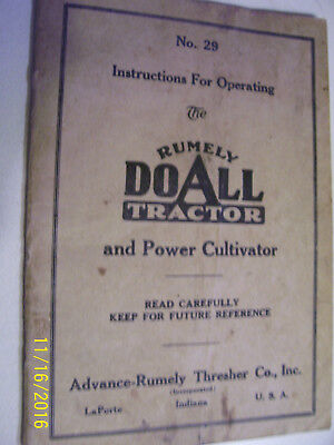 Vintage Advance Rumley Co Operators Manual - Do All Tractor - 1924