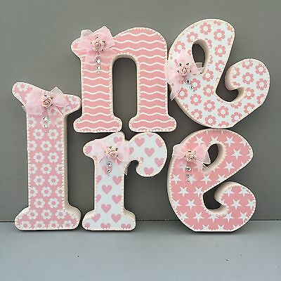 20cm Wooden Letters~Baby Girl~Pink~Nursery Decor~decorated letters~personalised