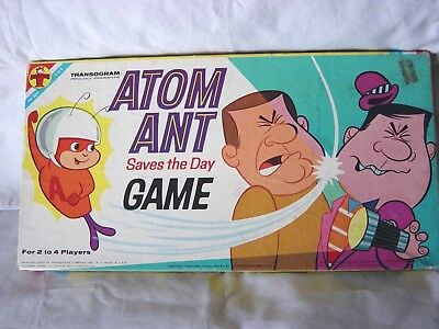 ATOM ANT saves the day BOARD GAME CA. 1966 COMPLETE ~ HANNA BARBERA