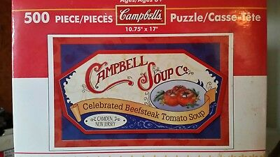 Campbell's Soup 500 piece puzzle 10 and 3/4 by 17 inch nib