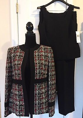 NWT 3 Piece Kasper Pant Suit Set Black Red White Twill Jacket 6