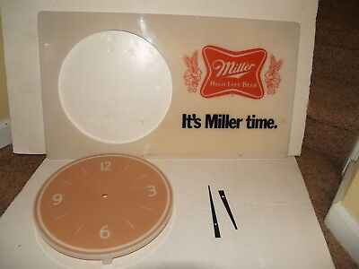 Vintage Miller Light clock face cover and hands - parts or repair