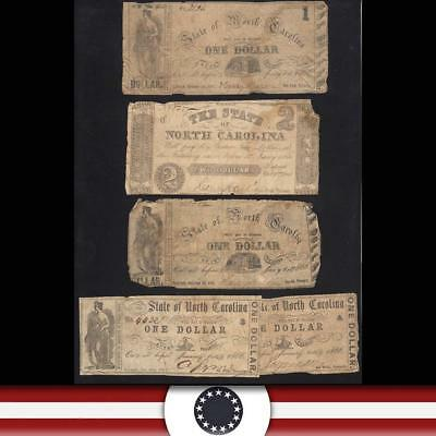 Set of Five (5) 1866 STATE of NORTH CAROLINA Obsolete Bank Notes  NC3