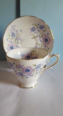 "Vintage Avon ""Blue Blossoms"" Cup & Saucer; Gold Trim; Made in England; 1974"