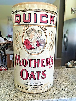 1910 -20's QUAKER MOTHER'S OATS Large  Cardboard Canister Box