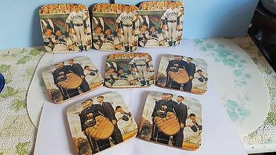 Vintage Norman Rockwell Chicago Cubs & Umpires Prints on Coasters; Set of 4 Each