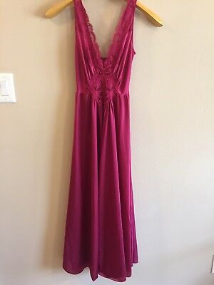 Vtg Mauve OLGA Nightgown Negligee Gown 92280 M USA has flaws see photos