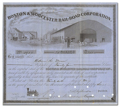 Boston & Worcester Rail-Road Company Stock Certificate (dated 1853)
