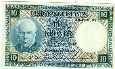 1926  ICELAND Currency  10 KRONUR