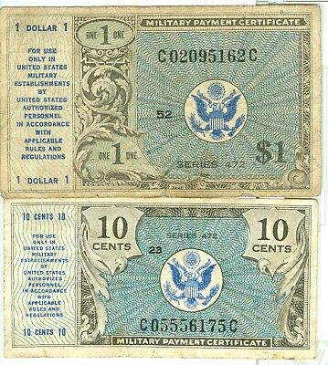 Series 472 Military Payment Certificates  One Dollar -  10 Cents