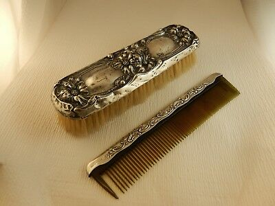 Antique Sterling Silver Brush 1906 Etched & Sterling Trim Comb