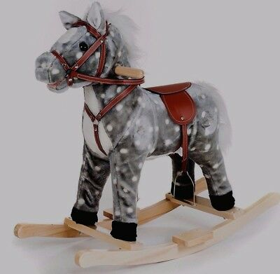 Kids Rocking Pony Plush Ride On Toy Horse Gray Speckled Childrens Riding Toys