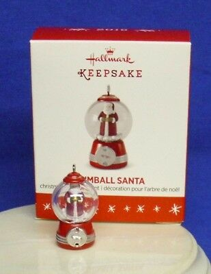 Hallmark Miniature Ornament Gumball Santa 2016 Tiny Gum Ball Machine NIB