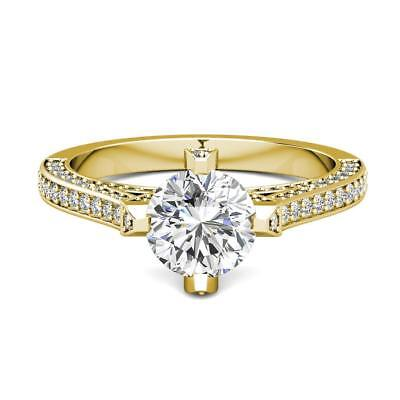 2.20 Ct 14K Yellow Gold Round Forever One Moissanite and Diamond Engagement Ring