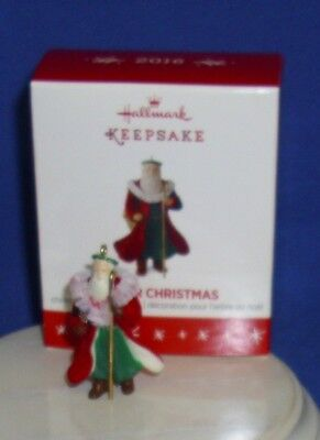 Hallmark Miniature Ornament Father Christmas 2016 Old World Santa Flocked Robe