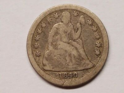 1840 Liberty Seated Dime (with Drapery) – Original VG
