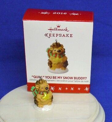 "Hallmark Miniature Ornament ""Quill"" You Be My Snow Buddy 2016 Porcupine NIB"