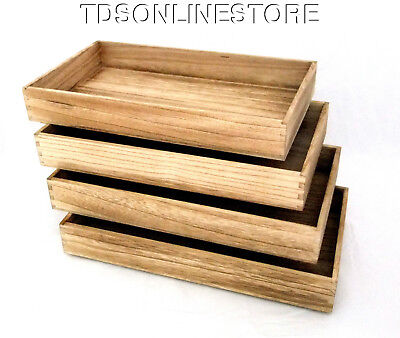 Package Of 4 Rustic Antique Oak Color Wood Jewelry Trays 2 Inch Deep