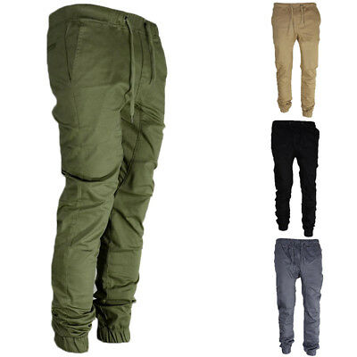 Men's Twill Jogger Pants Urban Hip Hop Harem Casual Trousers Slim Fit Elastic