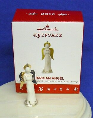 Hallmark Miniature Ornament Guardian Angel 2016 Porcelain with Metal Wings NIB