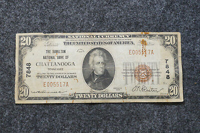 1929 The Hamilton National Bank of Chattanooga Tennessee $20 Dollar Note Twenty