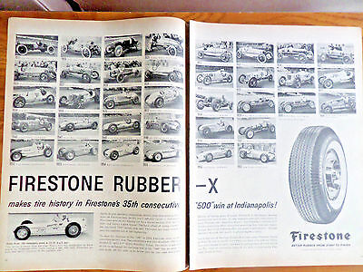 1958 Firestone Tire Ad Indy Indianapolis 500 Race Winners
