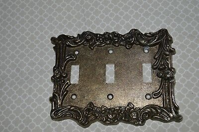 Vintage Metal AMERICAN TACK & Hardware light switch plate cover triple 3 gang