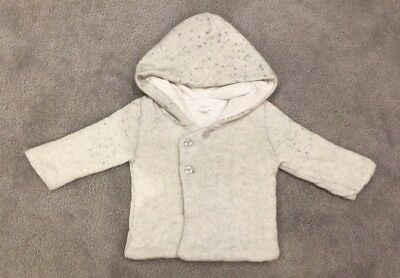 Purebaby Boy Or Girl Size 0 6-12 Months Soft Grey Hooded Jacket