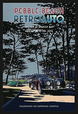 SIGNED Pebble Beach Concours 2016 RETROAUTO Poster DELAHAYE Layzell