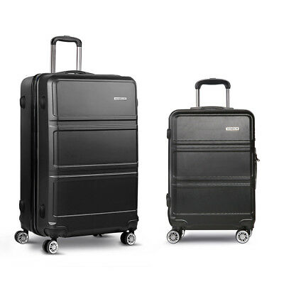 "NEW 2 Piece Lightweight Durable Hard-shell Travel Luggage Set 20"" and 28"" Black"