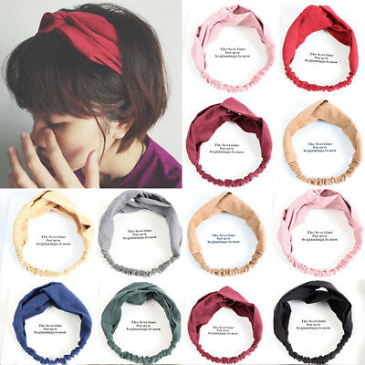 New Women Colorful Elastic Turban Head Wrap Headband Twisted Knotted Hair Band