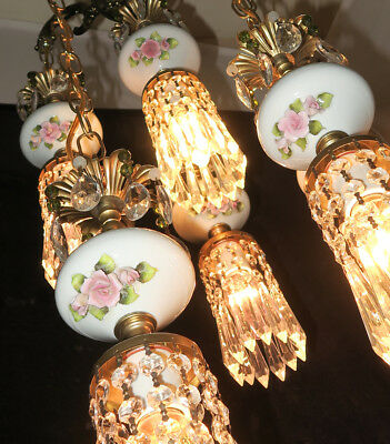 6lite Vintage Capodimonte PInk ROSE porcelain Brass swag lamp Beaded chandelier