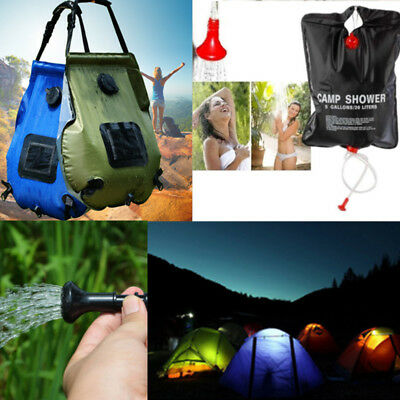 20L Solar Heated Shower Water Bathing Bag Outdoor Travel Hiking Portable 3 Color