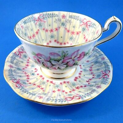 Pretty Royal Bridal Gown Queen Anne Tea Cup and Saucer Set
