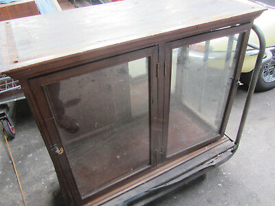 Victorian Haberdashery  Apothecary Cupboard Wooden Display With  Glazed Doors