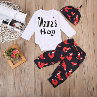 AU Stock Newborn Baby Boy Girls Fox Clothes Bodysuit Romper+ Long Pants Outfits
