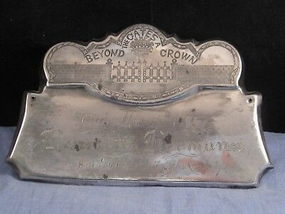 Antique Silver Coffin Plaque Hermann Beyond The Gates A Crown Memento Mori
