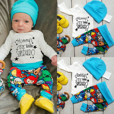 Newborn Baby Boys Superhero Tops T-shirt Long Pants Outfits Clothes Set AU Stock