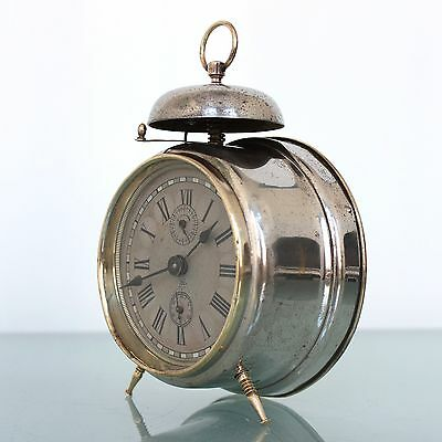 CLOCK Alarm JUNGHANS SPECIAL TOP! SILVER DIAL! Antique BELL Mantel 1910s Germany