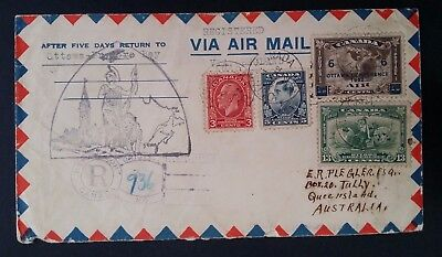 1932 Canada Airmail Registd Cover ties 4 Ottawa Conference stamps canc Ottawa