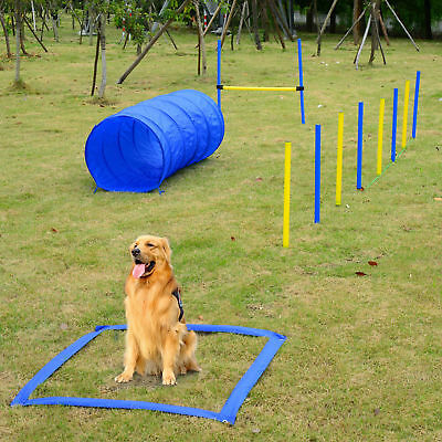 PawHut Dog Agility Starter Kit  jumps Outdoor Exercise Training Set Tunnel Pole