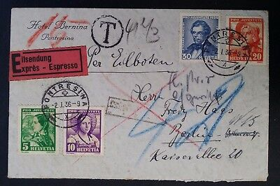 RARE 1936 Switzerland Express Cover ties 4 stamps canc Pontressina Taxed Berlin