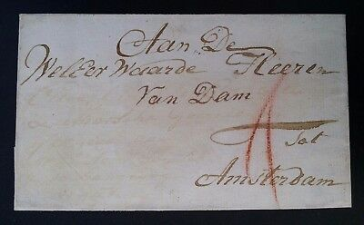 VERY RARE Undated Netherlands Folded Cover from Leerdam to Amsterdam